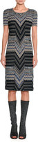 Missoni Short-Sleeve Patchwork Jacquard Dress, Blue