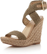 Stuart Weitzman Alex Crochet Wedge Sandal, Swamp