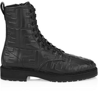 Fendi FF Leather Moto Boots
