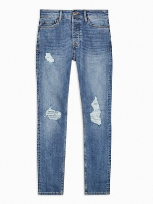 Topman Ripped Mid-Wash Stretch Skinny Jeans - Blue