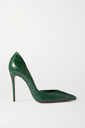 Christian Louboutin Iriza 100 Croc-effect Leather Pumps - Green