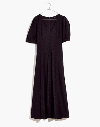 Madewell Floral Jacquard Puff-Sleeve Button-Front Midi Dress
