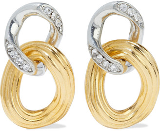 Ben-Amun Gold And Rhodium-plated Crystal Earrings
