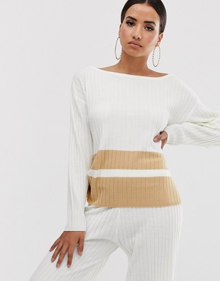 ASOS DESIGN lounge knitted sweater with stripe hem