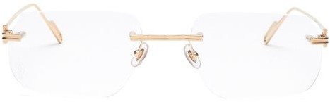 Cartier Eyewear - Premiere De Rimless Metal Glasses - Mens - Gold