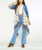 Flying Tomato Ivory & Blue Bell-Sleeve Hi-Low Open Cardigan