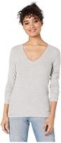 Splendid Valley 2x1 Rib Long Sleeve V-Neck (Black) Women's T Shirt