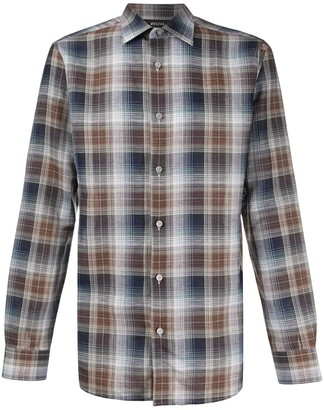 Ermenegildo Zegna Long Sleeve Checked Print Shirt