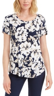 JM Collection Floral-Print Scoop-Neck Top, Created for Macy's