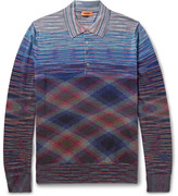 Missoni Slim-fit Space-dyed Wool And Cotton-blend Polo Shirt - Blue