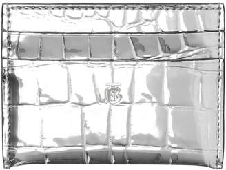 Burberry Sandon Metallic Faux Croc Card Case