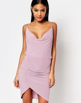 Club L Cowl Front and Cowl Back Asymmetric Detail Dress