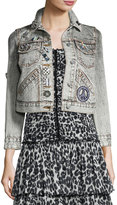 Marc Jacobs Shrunken Embellished Denim Jacket, Ecru