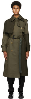 Sacai Khaki Gabardine Two-Tone Trench Coat