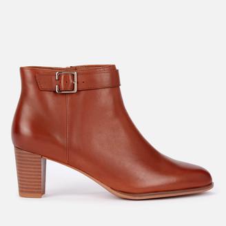 Clarks Women's Kaylin60 Leather Heeled Ankle Boots - Dark Tan