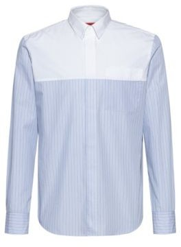 HUGO BOSS Relaxed Fit Shirt In Cotton With Contrast Yoke - Light Blue