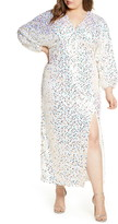 ELOQUII Long Sleeve Sequin Gown
