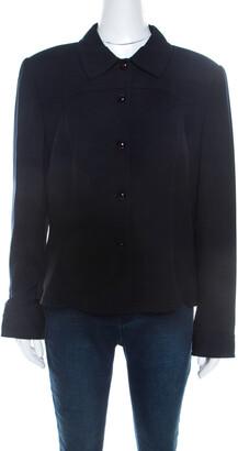 Escada Navy Blue Wool Crepe Tailored Jacket L