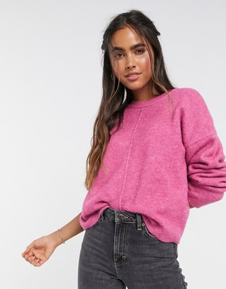 ASOS DESIGN fluffy jumper with mock seam