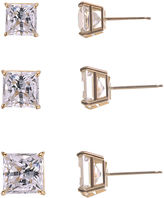 JCPenney FINE JEWELRY 3-Pr. Princess-Cut Cubic Zirconia Gold over Silver Stud Earring Set