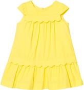 Lili Gaufrette Yellow Drop Waist Dress with Scalloped Detail