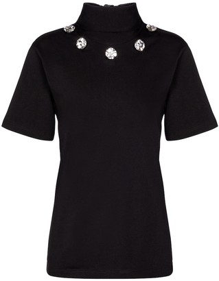 Christopher Kane Embellished tie-neck cotton top