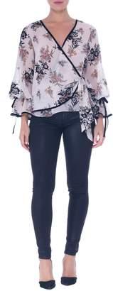Atina Cristina Lara Sheer Floral Wrap Blouse