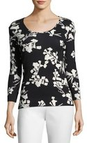 Escada Snapdragon-Print 3/4-Sleeve Tee, Black/Multi