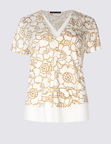 M&S Collection Floral Print V-Neck Short Sleeve T-Shirt