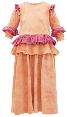 Story mfg. Tulsi Tie-dyed Ruffled Cotton-corduroy Midi Dress - Pink