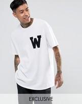 Reclaimed Vintage Inspired Oversized Varsity T-Shirt In White