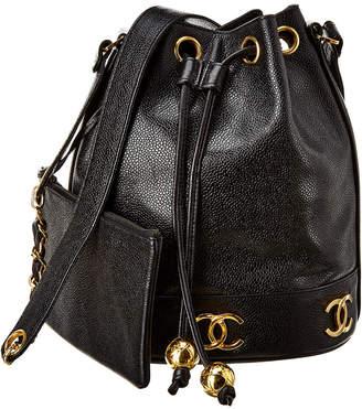 Chanel Black Caviar Leather 3Cc Bucket Bag