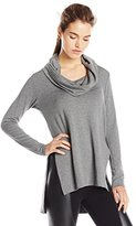 Michael Stars Women's Long Sleeve Cowl Hood High Low Tunic Top