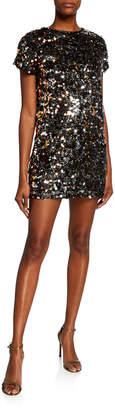 Aidan Mattox Sequin Paillettes Cap-Sleeve Mini Dress