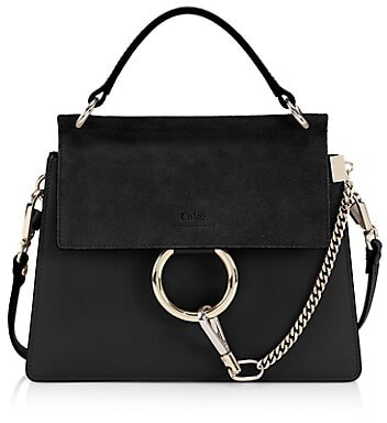 Thumbnail for your product : Chloé Small Faye Leather & Suede Top Handle Bag
