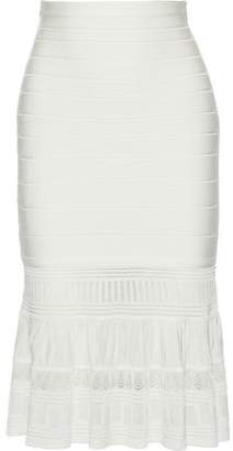 Herve Leger Pointelle Knit-paneled Bandage Skirt