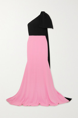 Alex Perry Anderson One-shoulder Bow-detailed Two-tone Crepe Gown - Baby pink