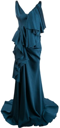 SOLACE London tiered draped gown