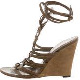 Saint Laurent Leather Wedge Sandals