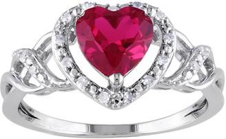 Stella Grace Sterling Silver Lab-Created Ruby & 1/10 Carat T.W. Diamond Heart Ring