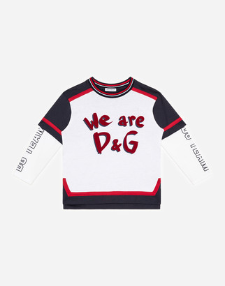 Dolce & Gabbana Long-Sleeved Jersey T-Shirt With We Are Print