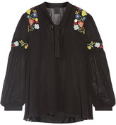 Anna Sui Garden Embroidered Georgette Blouse - Black