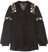 Anna Sui Garden Embroidered Georgette Blouse - Black