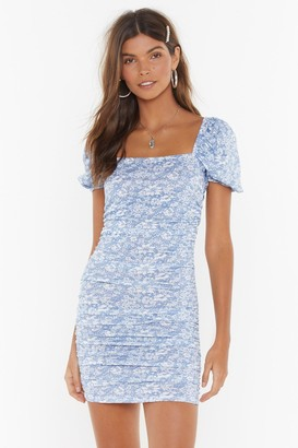 Nasty Gal Womens Got a Puff on You Floral Square Neck Dress - Blue - 4, Blue