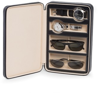 Black Leather Two Watch & Two Sunglass Travel Case