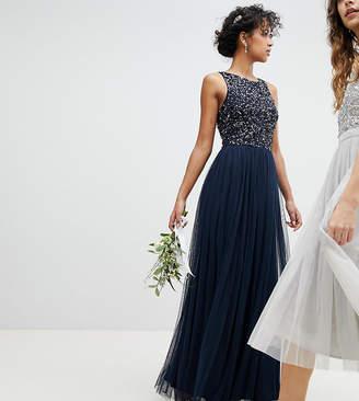 Maya Sleeveless Sequin Bodice Tulle Detail Maxi Bridesmaid Dress With Cutout Back-Navy