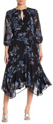 Gabby Skye 3/4 Sleeve Floral Print Chiffon Dress