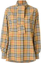 Burberry Vintage Check Tie-Neck Riding Shirt