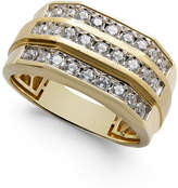Macy's Men's Diamond Three-Row Ring (1 ct. t.w.) in 10k Gold