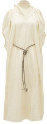 Ssōne Ssone - Apex Bow-back Striped-satin Midi Dress - Cream